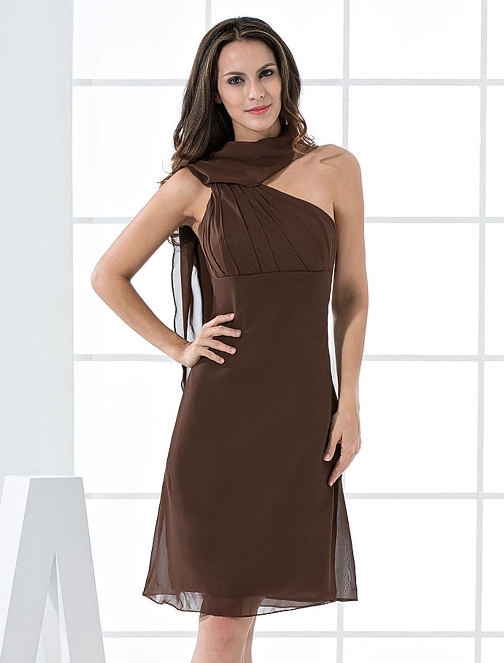 robe de cocktail en couleur de chocolat d 39 a linge en mousseline de satin. Black Bedroom Furniture Sets. Home Design Ideas
