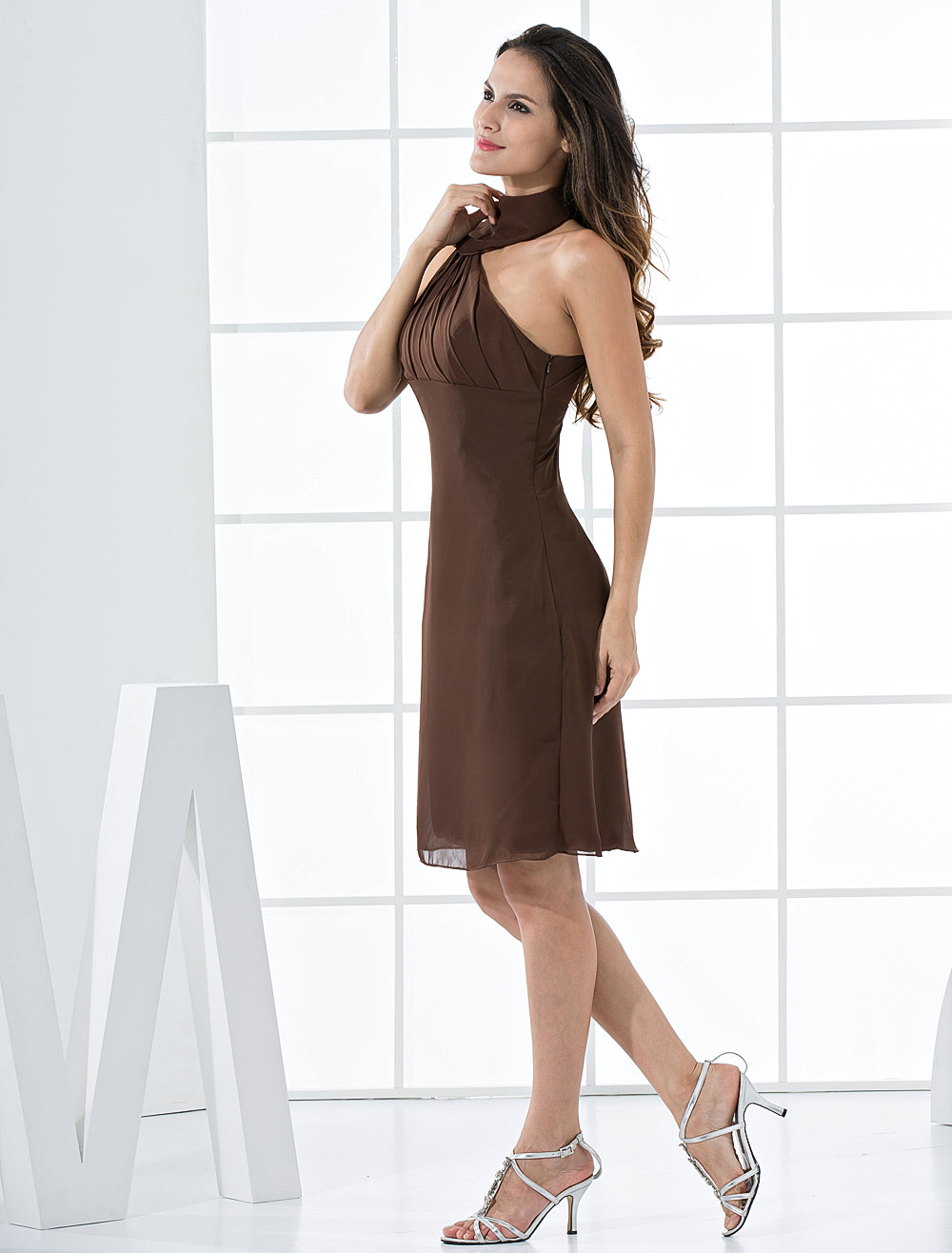 Robe cocktail marron ivoire