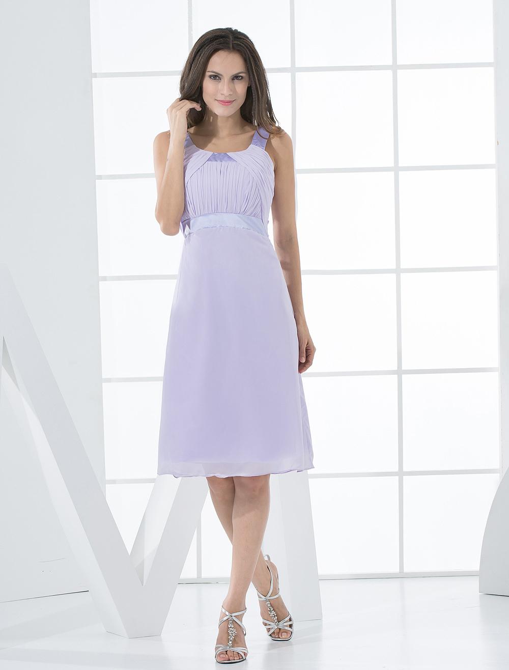 Elegant Sleeveless Empire Waist Satin Chiffon Summer Cocktail Dress
