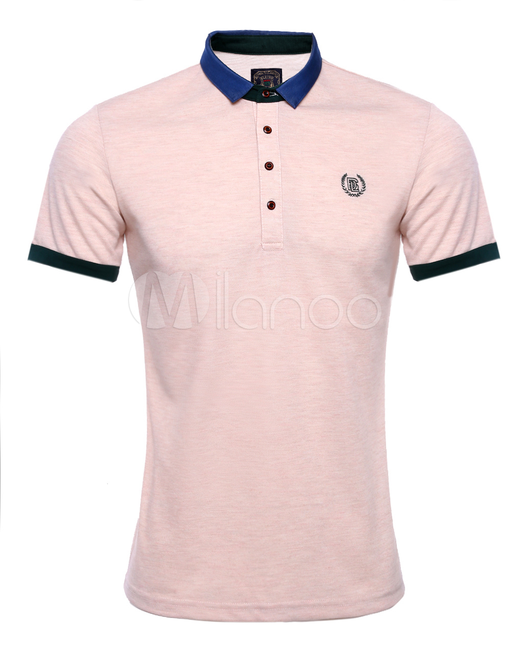 Pink cotton short sleeves logos cool mens polo shirt for Cool mens polo shirts