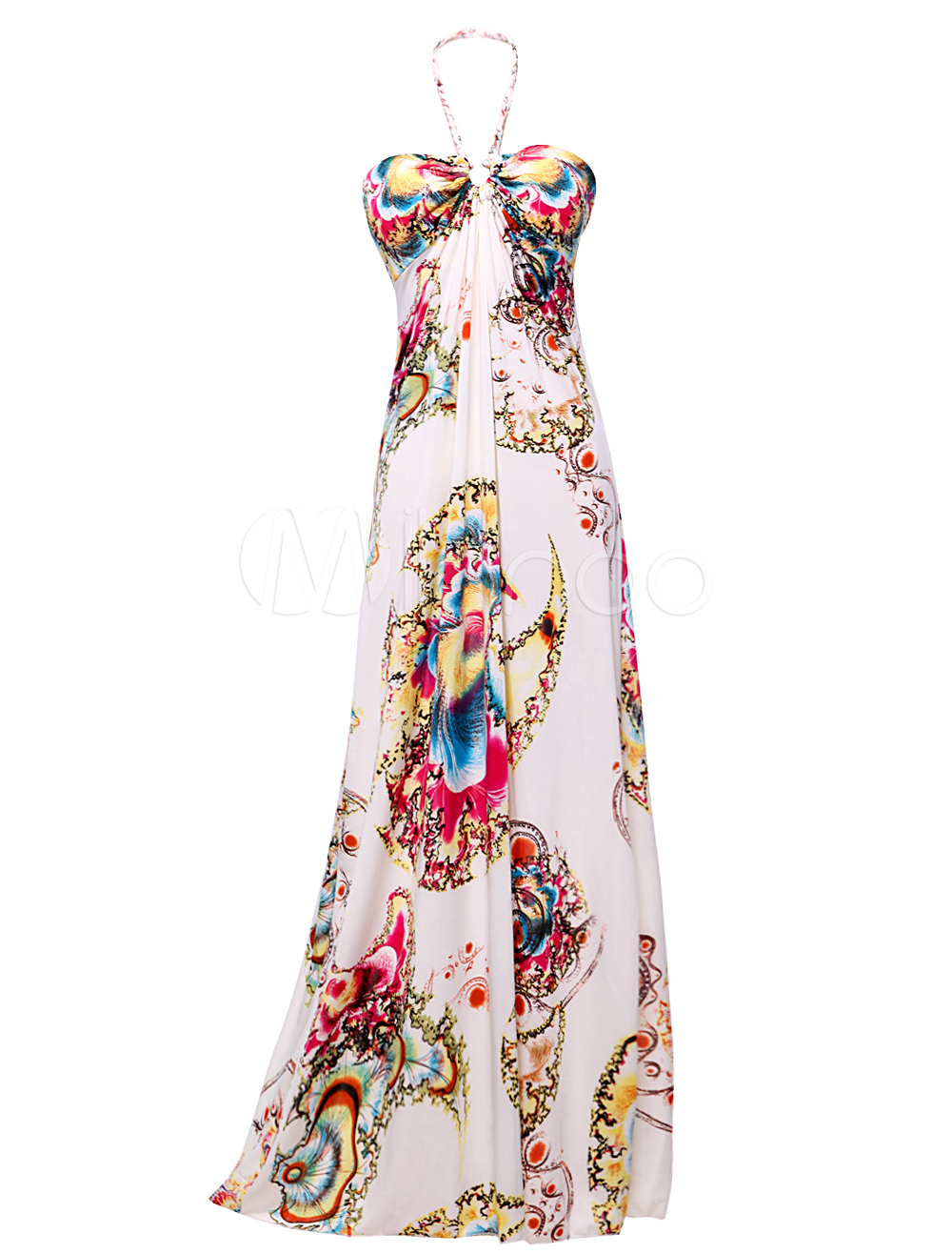 robe longue blanche imprime colore licou milanoocom - Robe Longue Colore