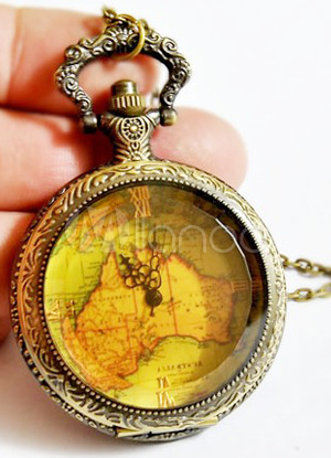 Vintage Round Bronze Map Patterned Alloy Pocket Watch