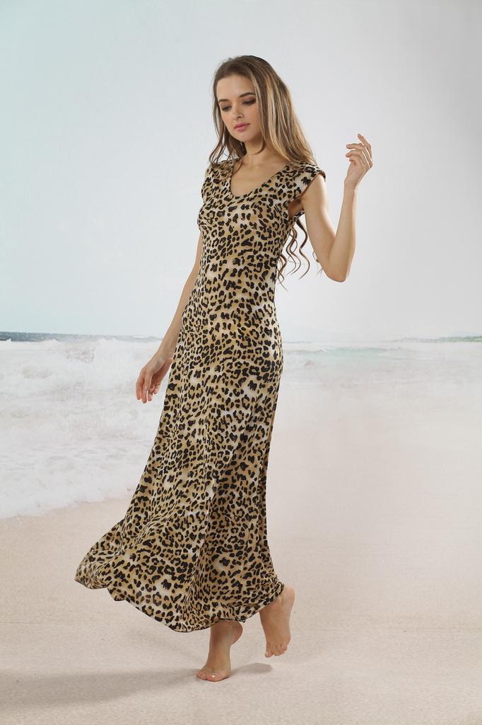 Casual Leopard Print Cotton V-neck Women's Tea Length Dress ...
