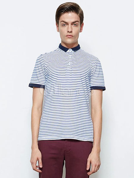 Smart cotton stripe short sleeves cool mens polo shirt for Cool mens polo shirts