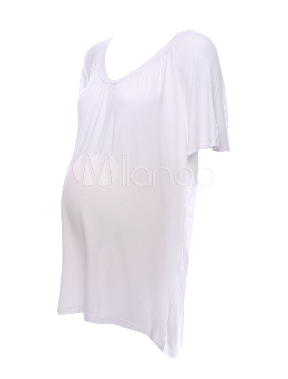 White Cotton Maternity Blouse 25