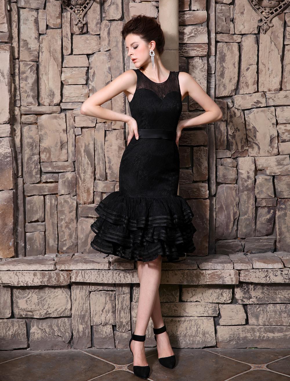 Tiered Scoop Neck Sleeveless Cocktail Dress Milanoo