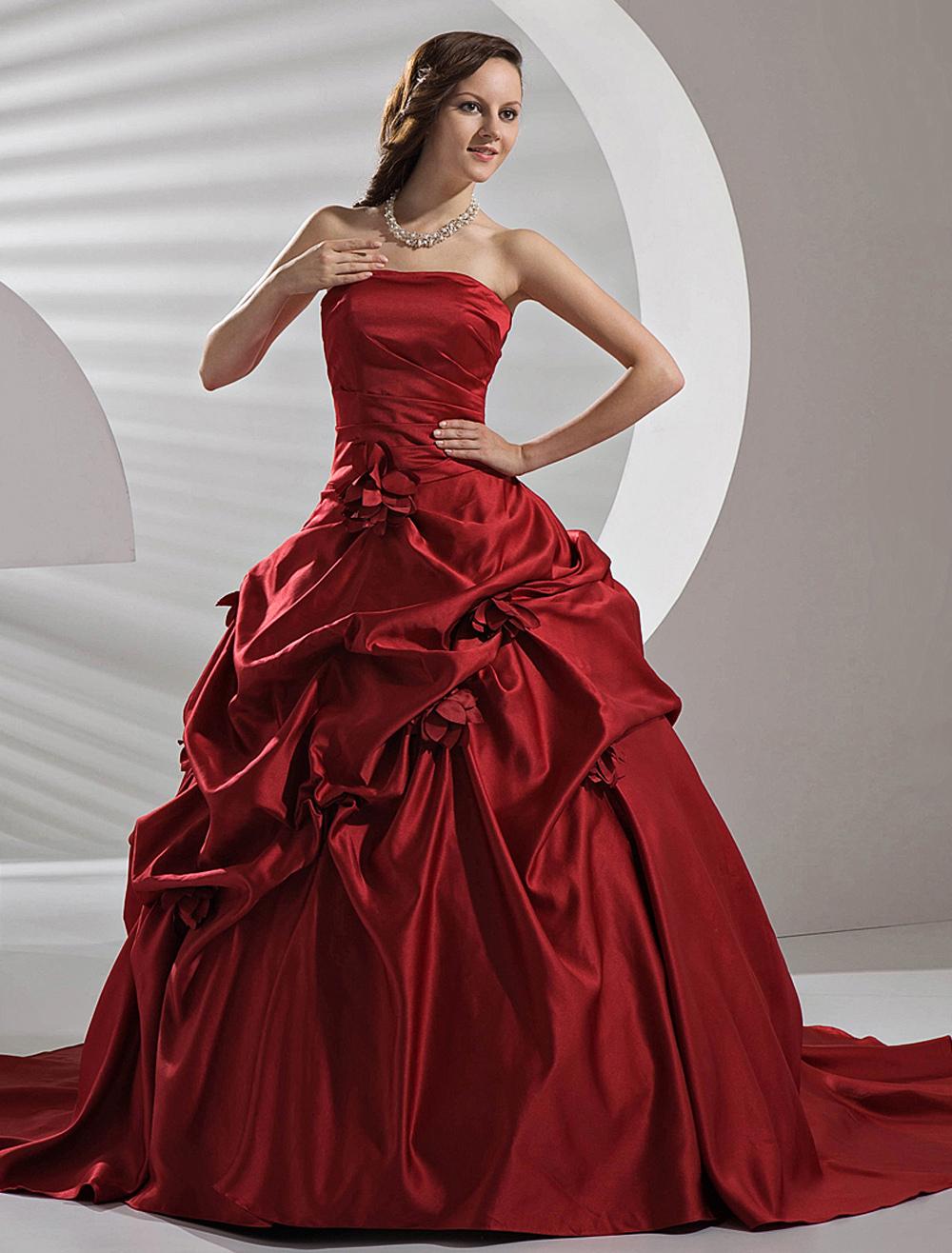 Burgundy Satin Pick-up Wedding Dress