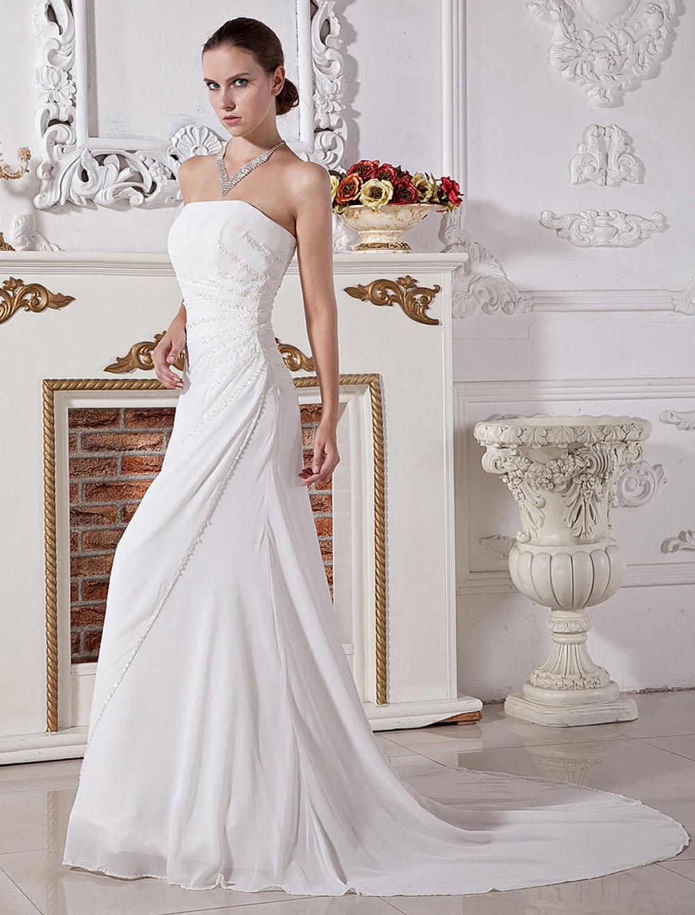 White Wedding Gown Strapless Ruched Sash Chiffon Wedding Dress (Cheap Wedding Dress) photo