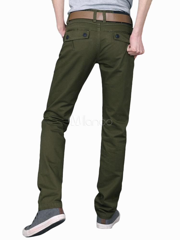 Cool Solid Color Cotton Straight Pants For Men - Milanoo.com
