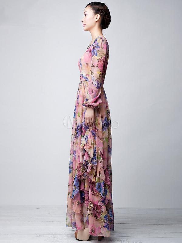 Robe longue manche courte rose