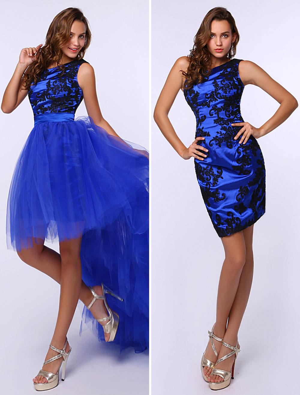 Sheath Royal Blue Prom Dress with One-Shoulder Tiered (Wedding Prom Dresses) photo