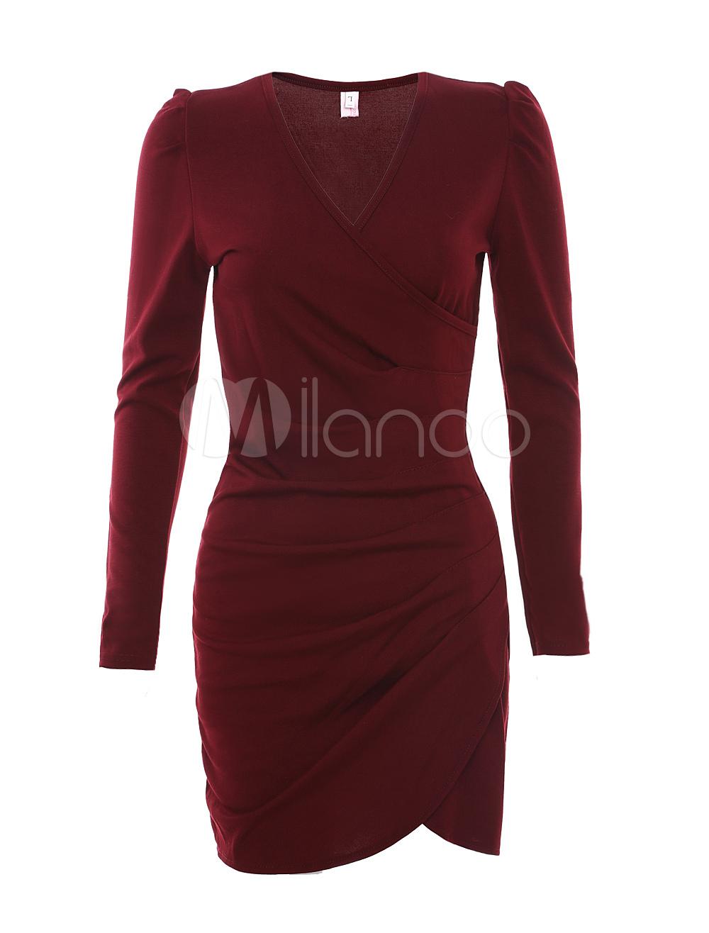 Burgundy Cotton Wrap Bodycon Dress for Woman