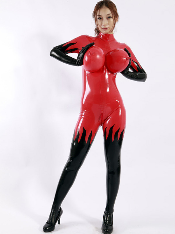 Halloween Latex Catsuit Sexy Red Unisex Bodysuit For Woman