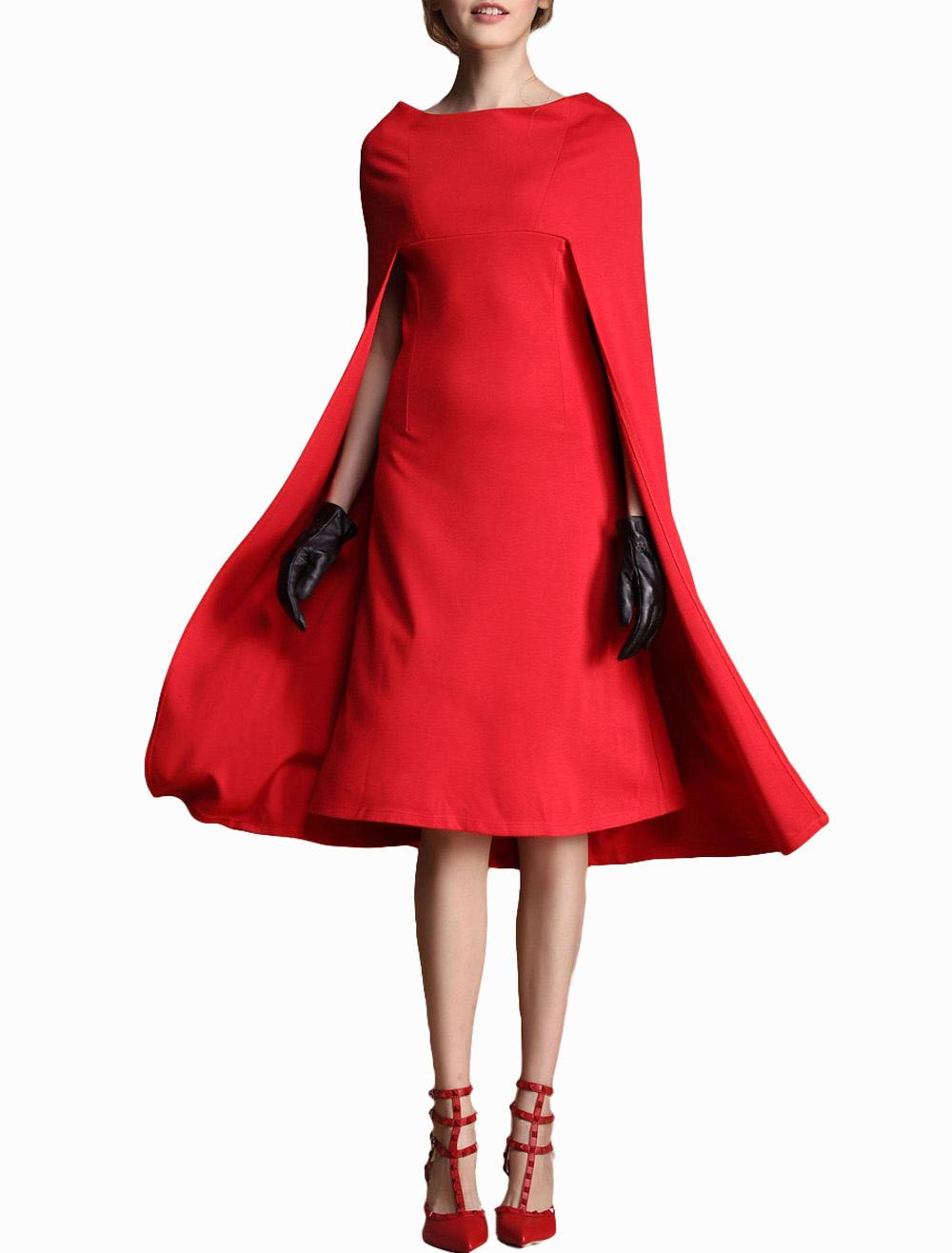 Robe rouge droite col v