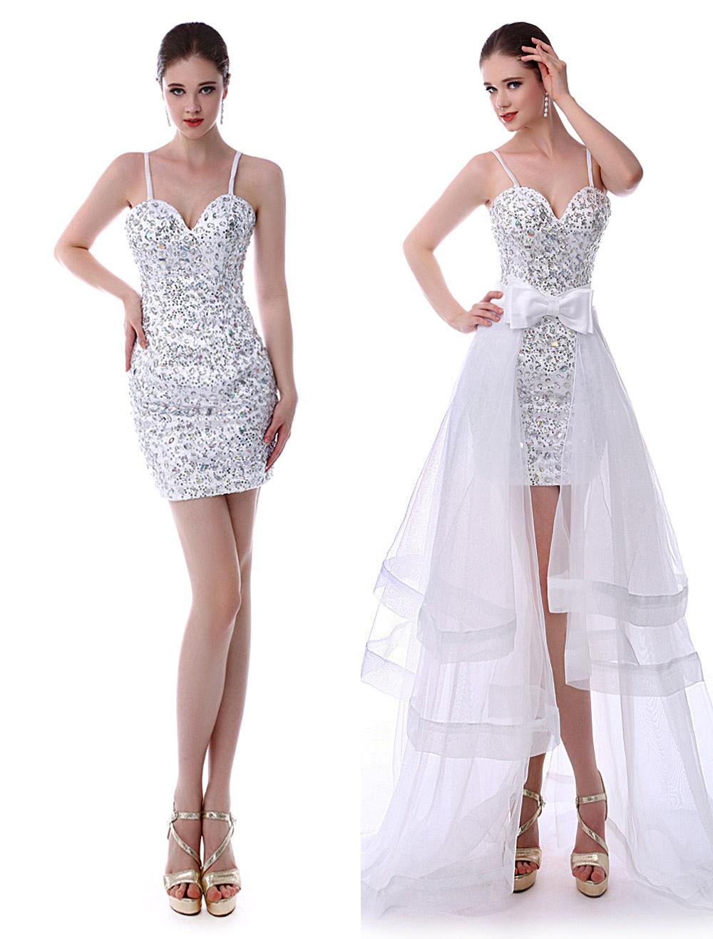 White Sheath Prom Dress with Sweetheart Neck Sleeveless Bow (Wedding Prom Dresses) photo