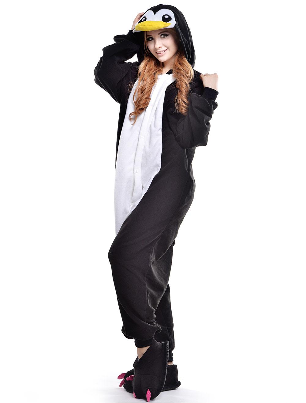 combinaison pyjama pingouin noir textile polaire kigurumi adulte. Black Bedroom Furniture Sets. Home Design Ideas
