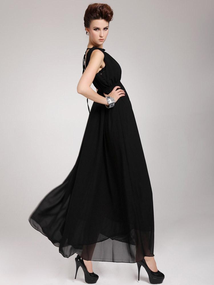 magnifique robe longue en chiffon unicolore de col ras du. Black Bedroom Furniture Sets. Home Design Ideas