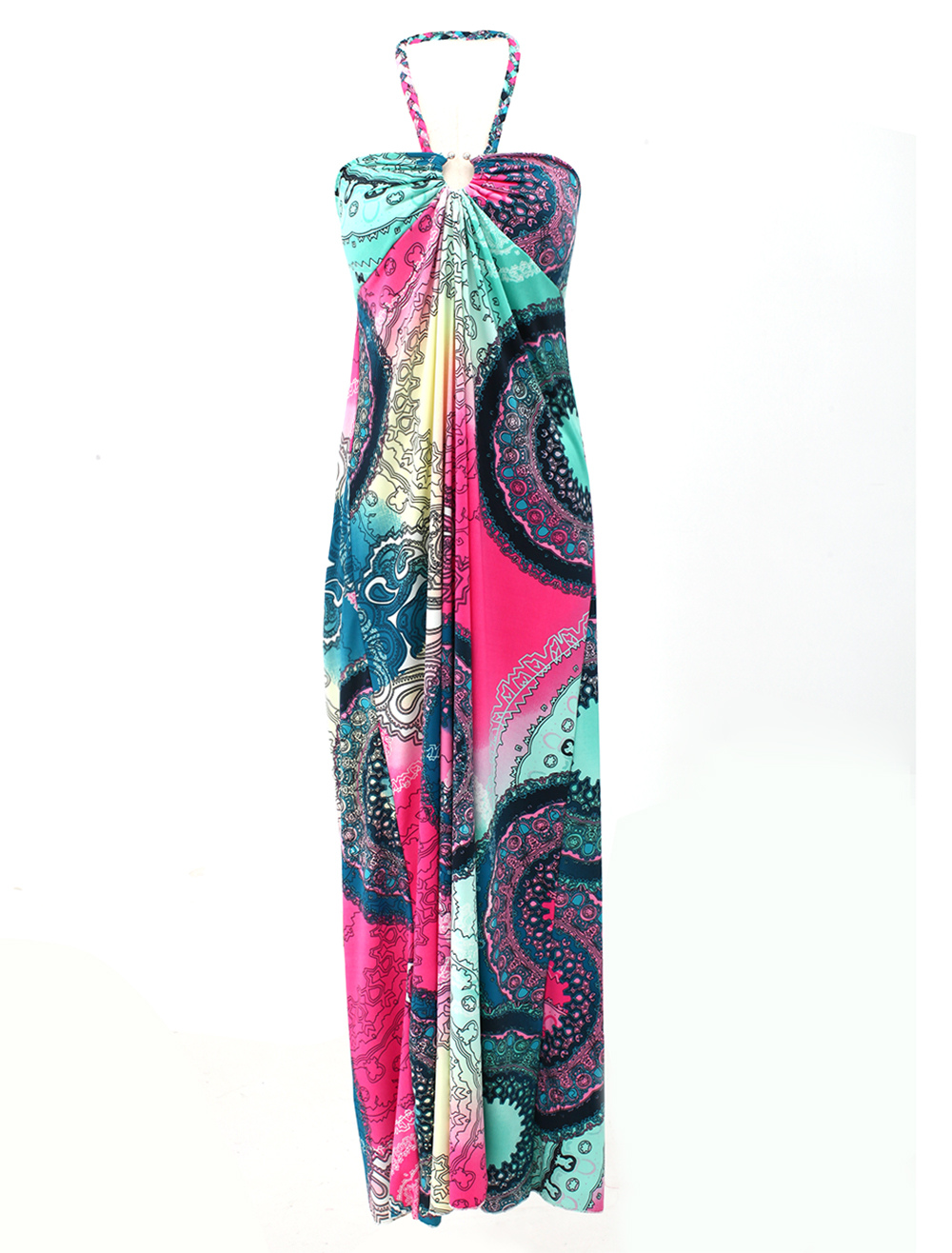 Boho Printed Halter Maxi Dress