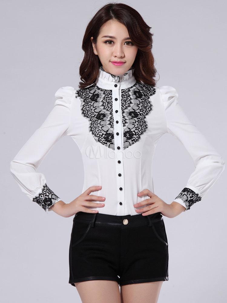 chemise femme blanche avec dentelle noire. Black Bedroom Furniture Sets. Home Design Ideas