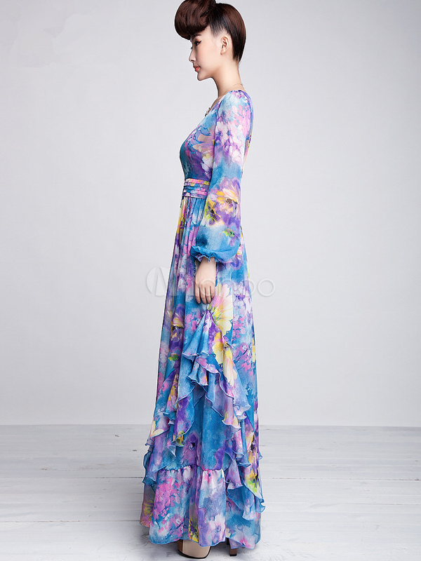 long sleeve chiffon maxi dress « Bella Forte Glass Studio