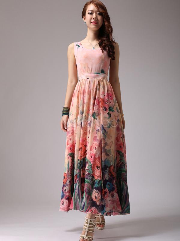 Floral Print Chiffon Maxi Dress - Milanoo.com