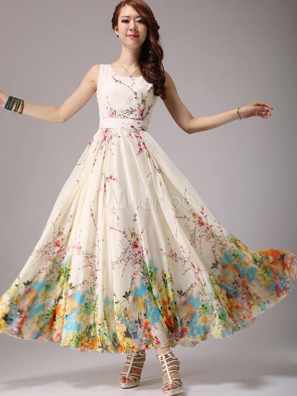 Floral Print Chiffon Maxi Dress Milanoo Com