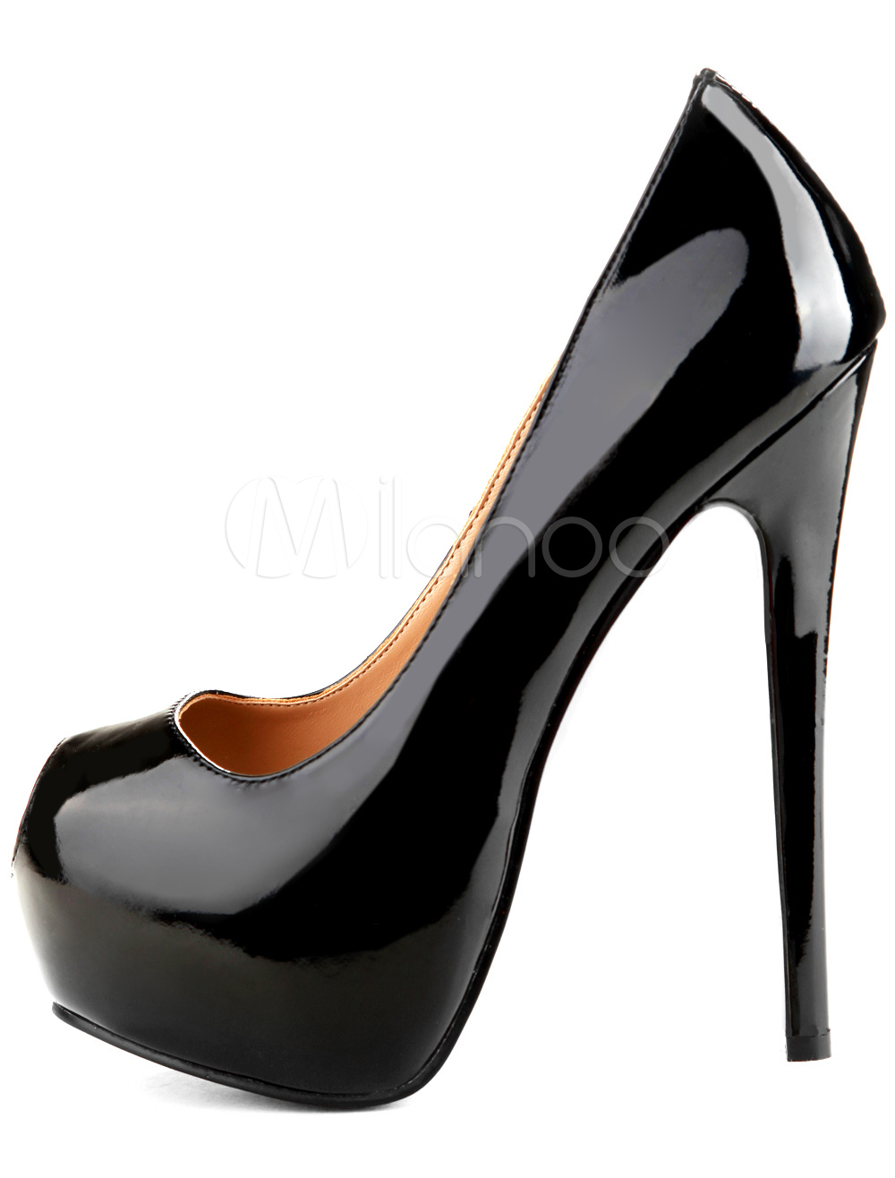 Black Peep Toe Platform High Heel Shoes