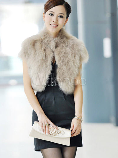 Short Sleeves Faux Fur Jacket - Milanoo.com