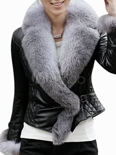 veste en cuir noire avec fourrure de renard de col v. Black Bedroom Furniture Sets. Home Design Ideas