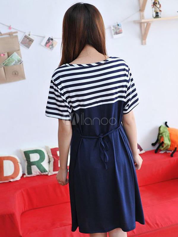 Navy blue stripe pattern buttons cotton maternity dress for Navy blue maternity dress for wedding