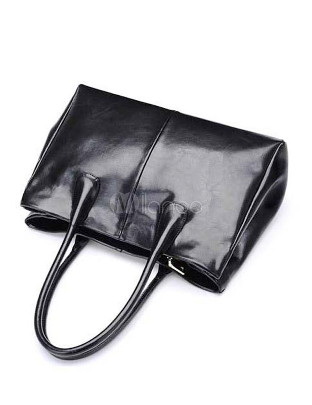 Borsetta nera in stile vintage di vernice orizzontale di PU con ...