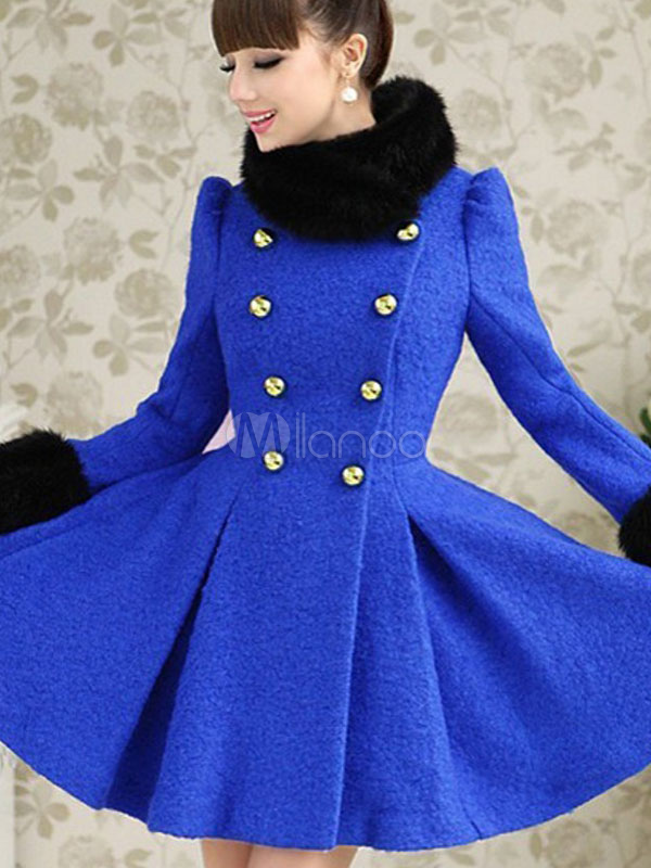 Royal Blue Pea Coat Fashion Women S Coat 2017