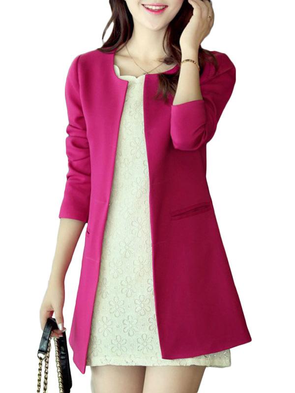 Eleganter damen blazer mit rundhalsausschnitt - Festliche blazer ...