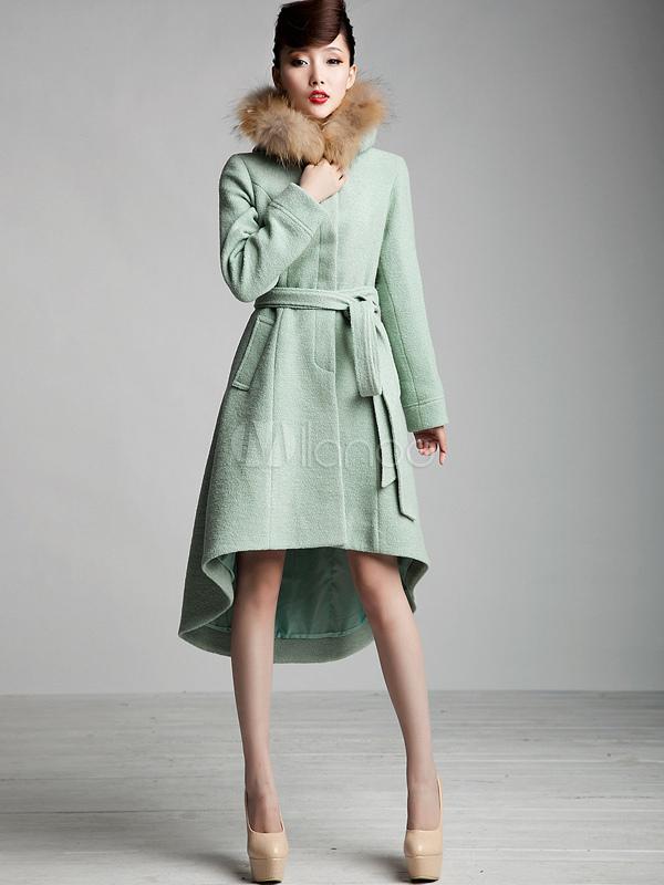 Front Button High-Low Hem Wool Trench Coat - Milanoo.com