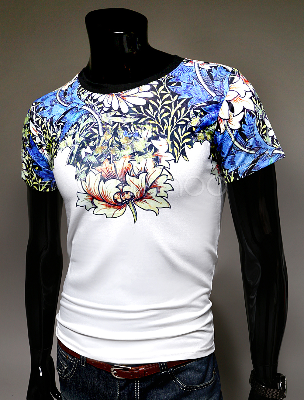 White short sleeves floral print trendy tropical style men for Floral mens t shirts