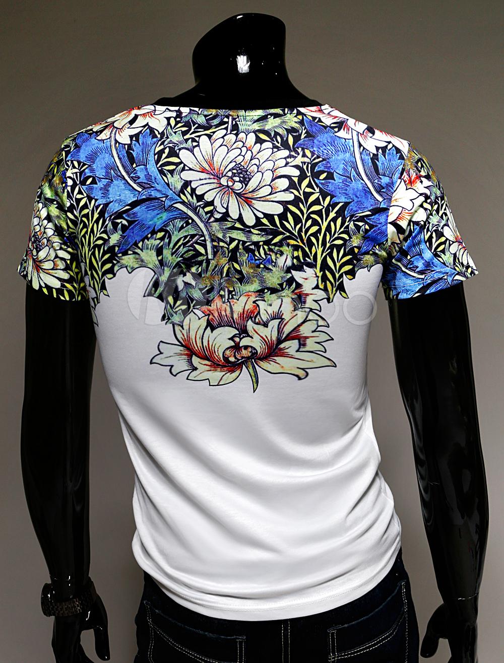 T shirt homme r tro blanc imprim fleuri de manches courtes et col rond mil - Chevalet vetement design ...