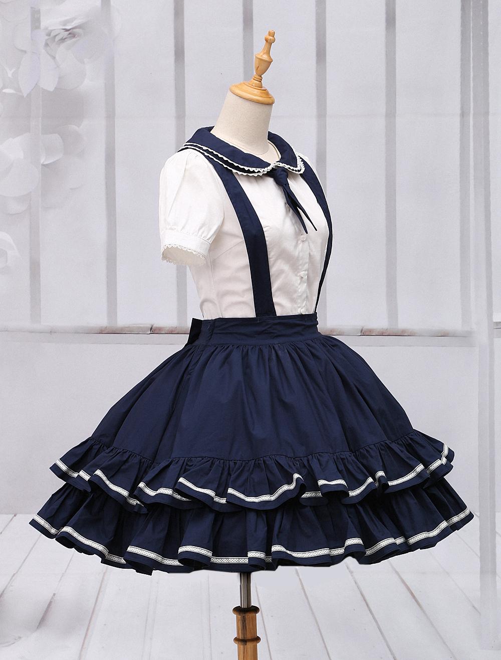 Pure Cotton Straps Neck Lolita Skirt Milanoo Com