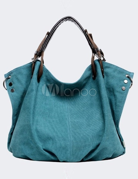 Blue Canvas Hobo Bag for Women - Milanoo.com