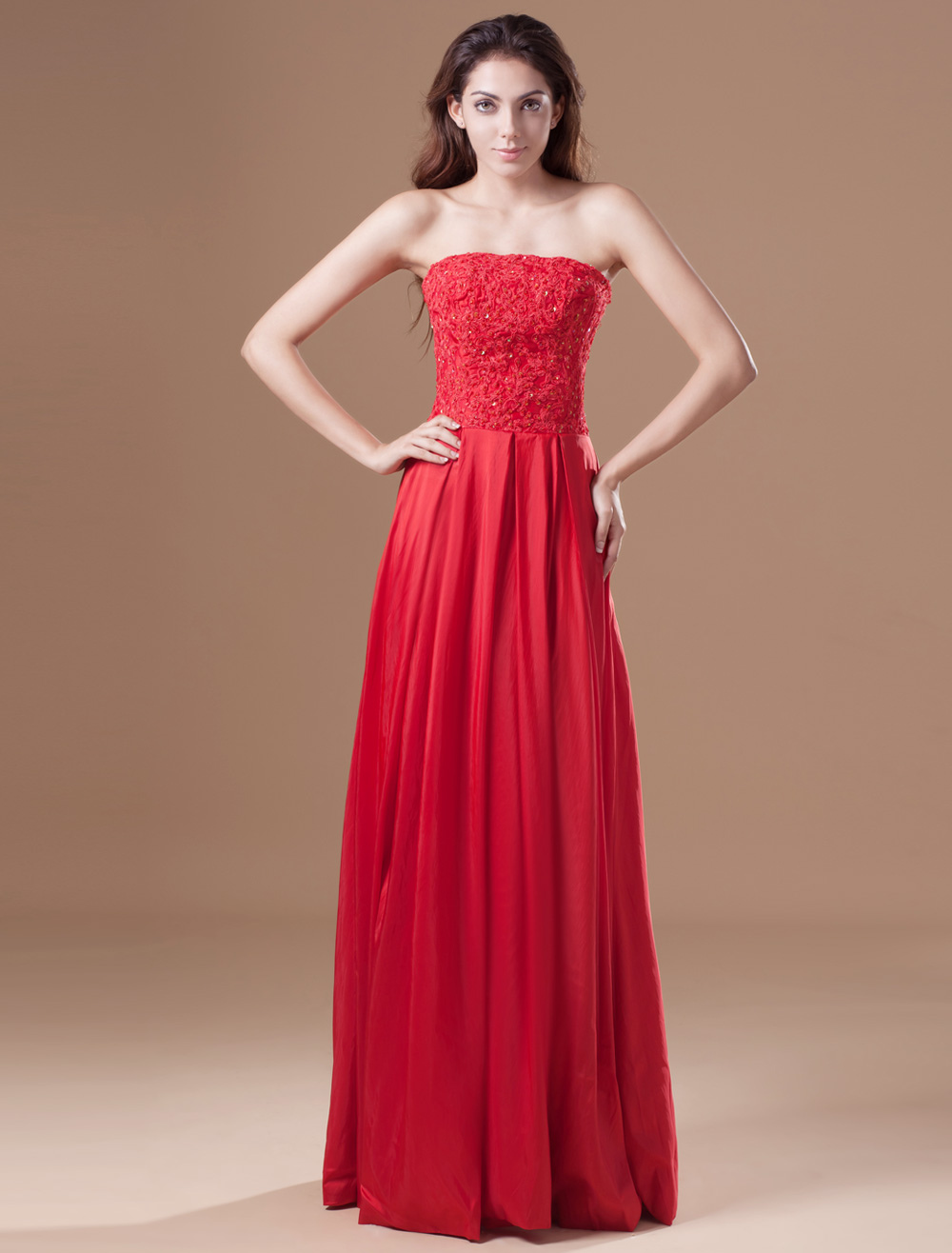 Elegant Red Taffeta Sequin Strapless Women's Evening Dress (Wedding Cheap Party Dress) photo