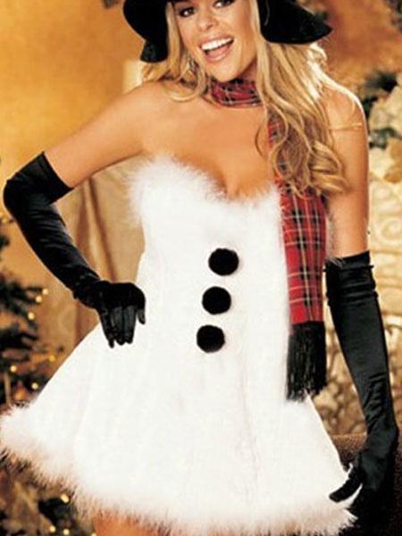 Costume da babba natale sexy bianco velluto con guanti neri - Costume da bagno velluto ...