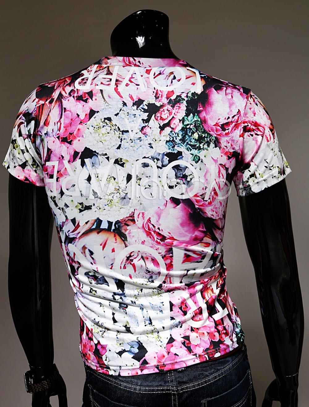 t shirt homme r tro multicolore imprim fleuri de col rond et manches courtes. Black Bedroom Furniture Sets. Home Design Ideas