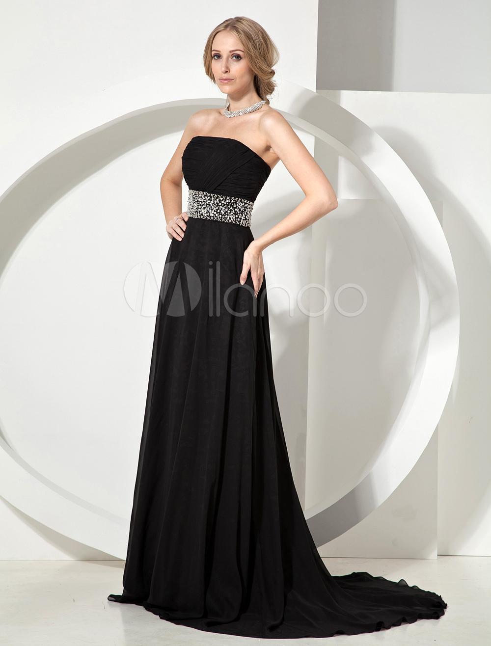 Elegant Black Beading Strapless Chiffon Woman's Evening Dress (Wedding Evening Dresses) photo