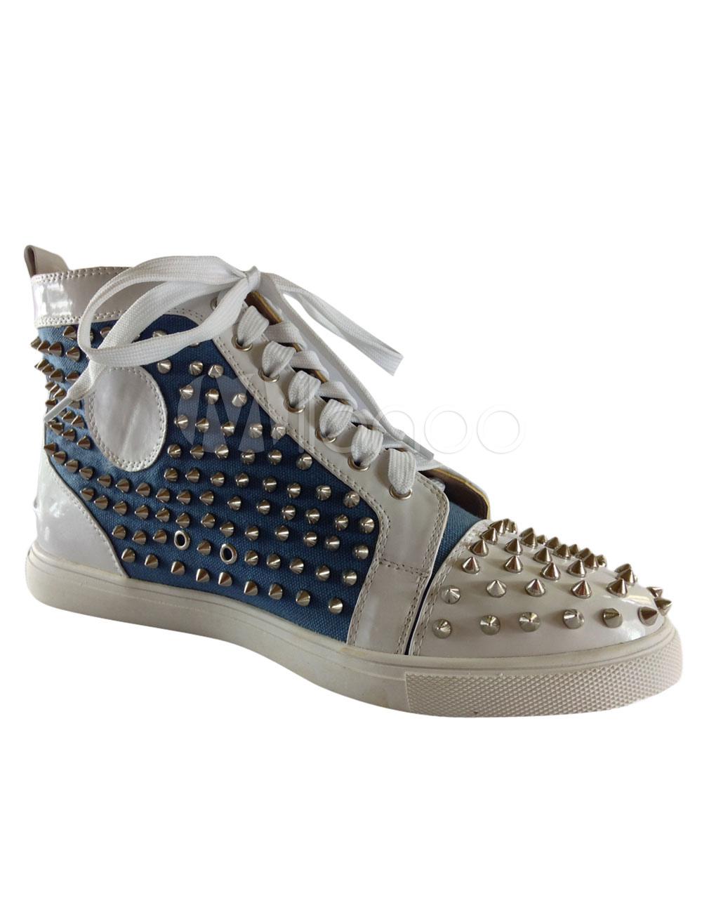 chaussures clout es en toile blanc color block. Black Bedroom Furniture Sets. Home Design Ideas