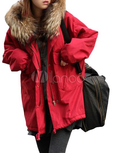 chic manteau femme d tail fausse fourrure sur capuche avec poches. Black Bedroom Furniture Sets. Home Design Ideas