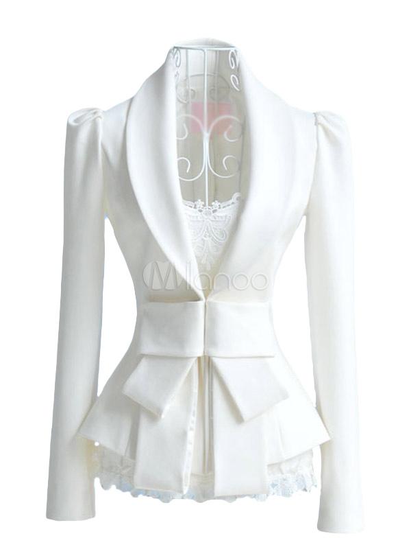 White bow long sleeve women s blazer milanoo com