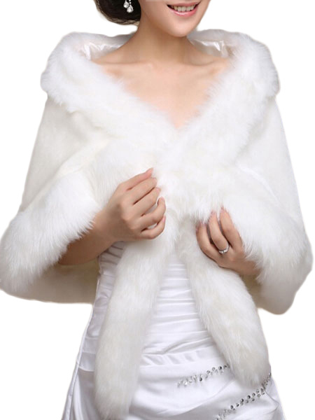 White Faux Fur Cape Coat $26.99 AT vintagedancer.com