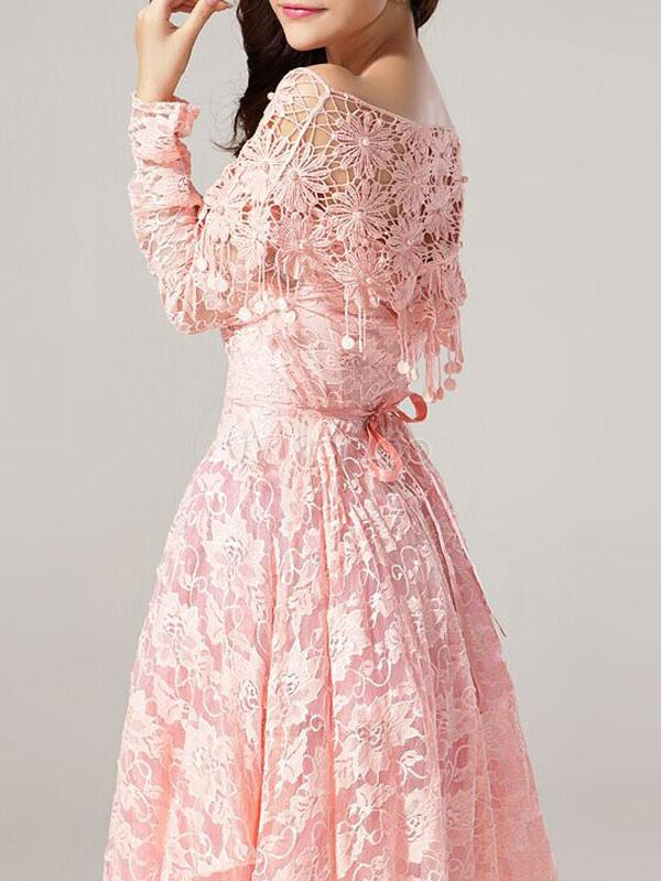 robe vintage rose avec dentelle et fleur col bateau. Black Bedroom Furniture Sets. Home Design Ideas