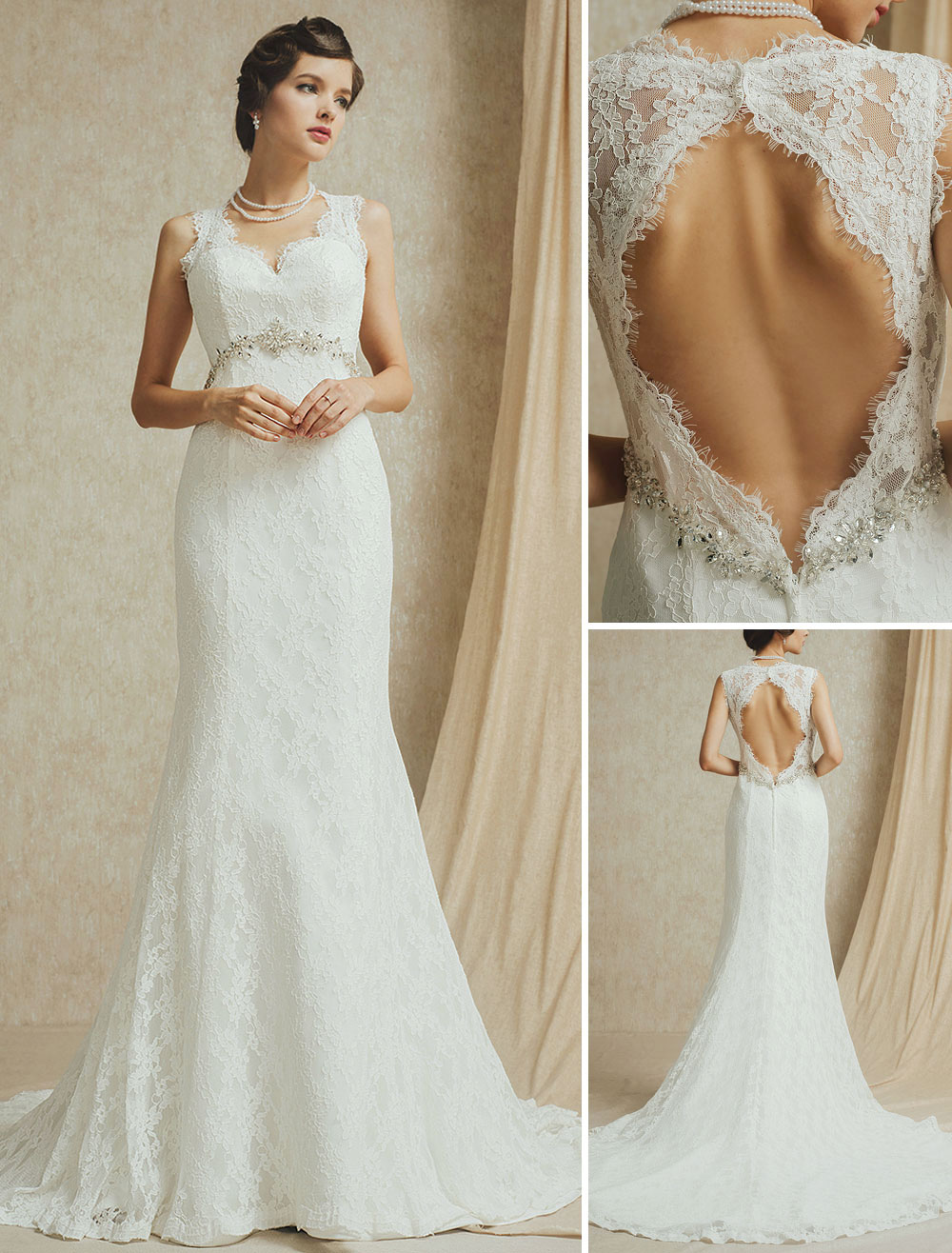 Vestido de novia de encaje con pedrería de cola larga,No.1