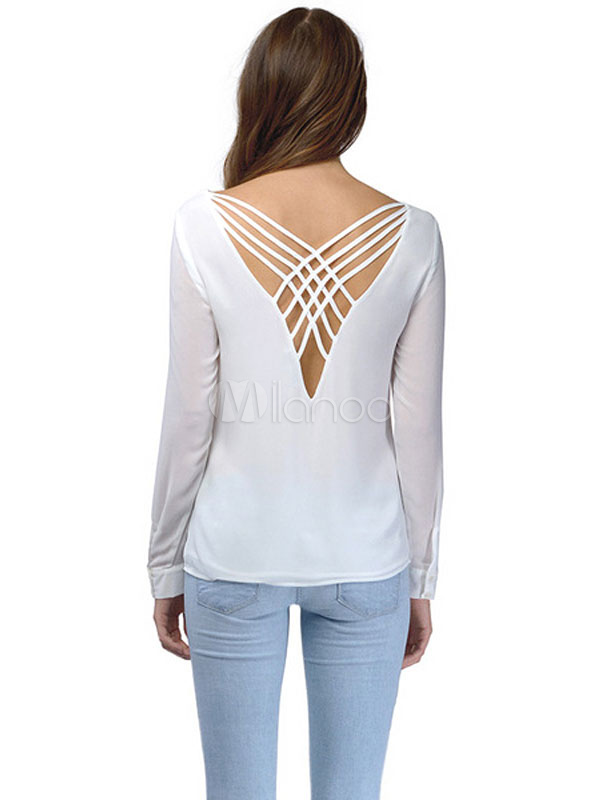 Long Sleeve Low Back T Shirt Milanoo Com