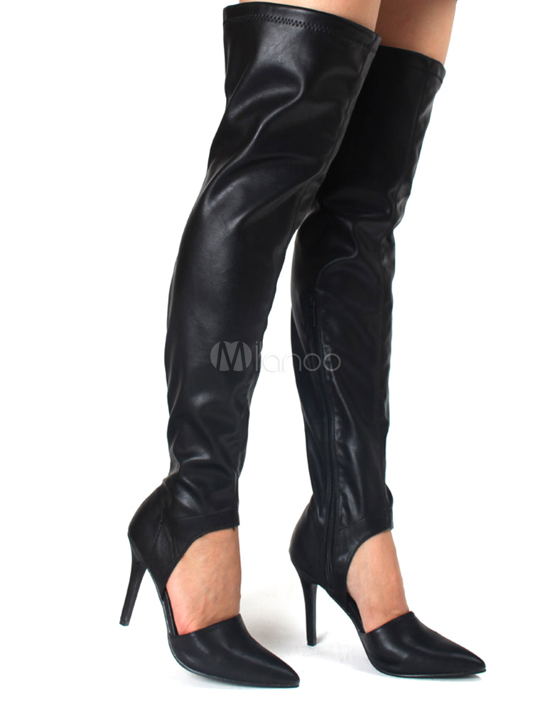 Pointed Toe Cut Out Over the Knee Boots - Milanoo.com